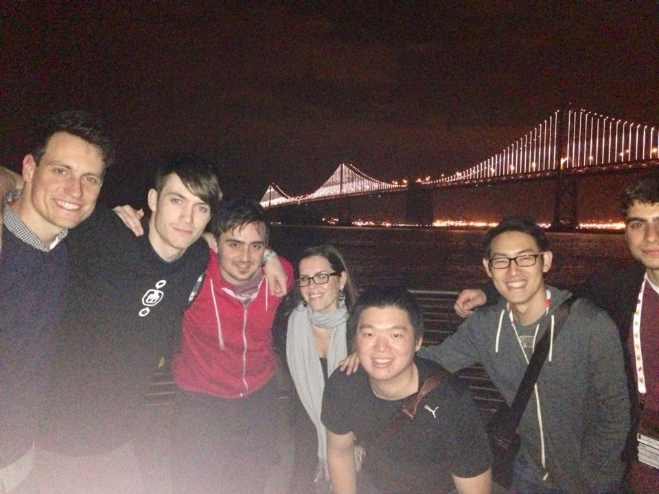 Anya took us to see the lightshow at the Bay Bridge! (From left to right) Jay Armstrong, Jimp, Me, Anya (AddictingGames), Sudarmin (Toge), Kris (Toge), John (Notdoppler).